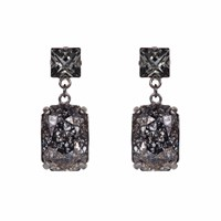 Nadia Minkoff Rectangular Drop Stone Earring Black