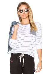 Sundry Stripes Slub Tee With Pocket White