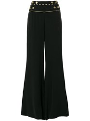 Balmain Pierre Decorative Button Palazzo Pants Black