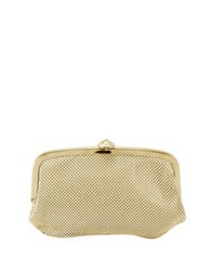 La Regale Mesh Pouch Bag With Snap Closure Gold