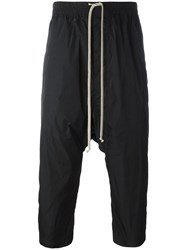 Rick Owens Drop Crotch Cropped Track Pants Black