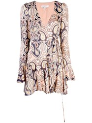 Shona Joy Hendrix Mini Wrap Dress Brown
