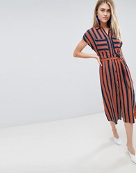 Bershka Striped Dress With Tie Waist In Multi