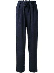 Enfold Ribbed Drawstring High Waisted Trousers Blue