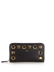 Fendi Rainbow Continental Leather Wallet Black Gold