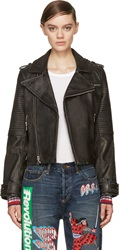 Marc By Marc Jacobs Black Worn Leather Biker Jacket