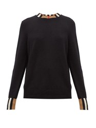 Burberry Eyre Icon Striped Cashmere Sweater Black