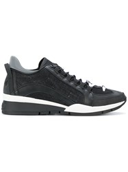 Dsquared2 251 Sneakers Men Cotton Leather Rubber 42 Black