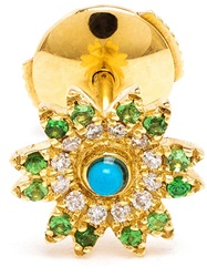 Yvonne Leon Yvonne Leon 18Kt Gold And Turquoise Flower Stud Earring