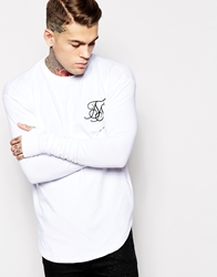 Siksilk Long Sleeve Fitted T Shirt White