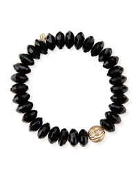 Sydney Evan 12Mm Faceted Saucer Agate Bead Bracelet With 14K Ball Spacer Black
