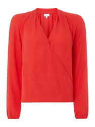 Linea Gabi Wrap Front Blouse Red