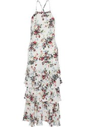Marissa Webb Everleigh Tiered Floral Print Silk Crepe De Chine Midi Dress White