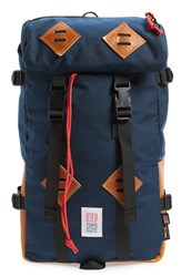 Topo Designs Men's 'Klettersack' Backpack Blue Navy Brown Leather