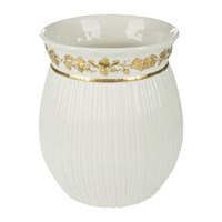 Villari Impero Waste Bin White And Antique Gold