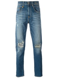 R 13 R13 Ripped Tapered Jeans Blue