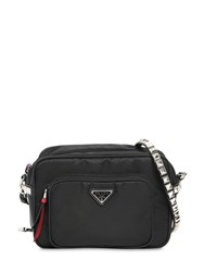 Prada New Vela Nylon Bucket Bag W Studs Black Red