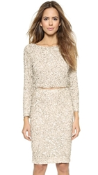 Alice Olivia Lacey Embellished Crop Top Nude Cream Silver