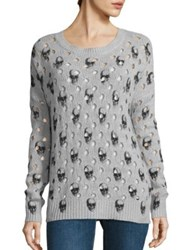360Cashmere Avril Burnout Skull Sweater Shitake Charcoal Skulls