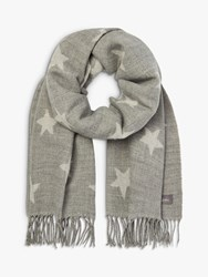 Joules Mardale Star Fringe Scarf Pale Grey White
