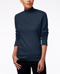 Karen Scott Mock Turtleneck Top Only At Macy's Intrepid Blue