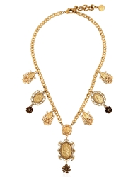 Dolce And Gabbana Gold Plated Metal Pendant Necklace Black Gold