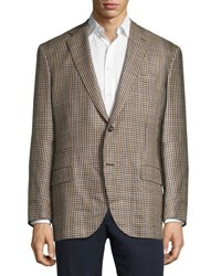 Luciano Barbera Check Soft Two Button Jacket Brown