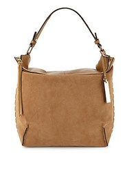 Vince Camuto Textured Leather And Suede Hobo Bag Mocha