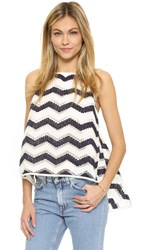Milly Chevron Trapeze Camisole Navy White