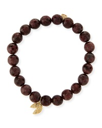 8Mm Faceted Red Garnet Beaded Bracelet With 14K Gold Diamond Fortune Cookie Charm Sydney Evan