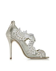 Oscar De La Renta Ambria Light Gold Metallic Nappa W Embroidery Mesh High Heel Sandals
