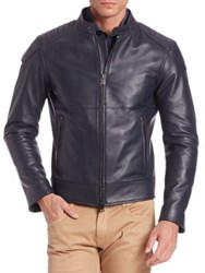 Pal Zileri Long Sleeve Leather Jacket Navy