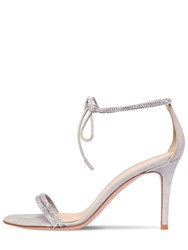 Gianvito Rossi 85Mm Embellished Lame Leather Sandals Silver