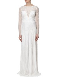 Adrianna Papell Long Sleeve Beaded Gown Ivory