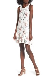 Women's Bp. Floral Ruffle Hem Dress Ivory Large Floral Pattern