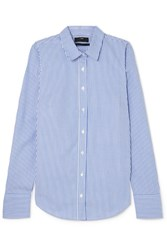 J.Crew Perfect Striped Cotton Blend Poplin Shirt Blue