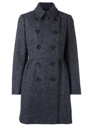 Red Valentino Herringbone Double Breasted Coat Grey