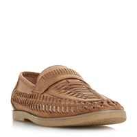 Howick Brazill Woven Saddle Loafers Tan