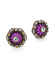Heidi Daus This Rocks Sparkle Flower Earrings Purple Multi