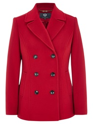 Viyella Double Breasted Pea Coat Red