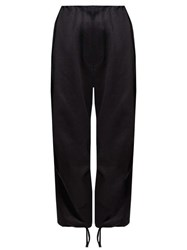 The Row Attie Cotton Sateen Wide Leg Trousers Black