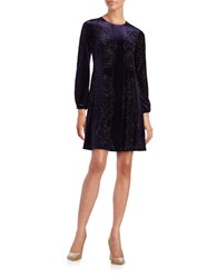 Eliza J Long Sleeve Velvet A Line Dress Navy