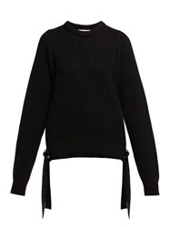 Helmut Lang Strap Detail Knitted Cotton Sweater Black