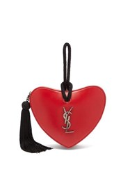 Saint Laurent Love Heart Logo Leather Clutch Red