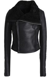 Rick Owens Woman Classic Nz Shearling Biker Jacket Black