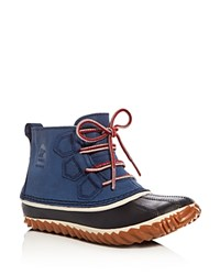 Sorel Out N About Waterproof Embossed Leather Lace Up Duck Booties Dark Mountain