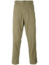 Ganryu Comme Des Garcons Cropped Straight Trousers Men Cotton Nylon S Green