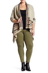 Dreamers By Debut Drape Front Print Cardigan Plus Size Multi