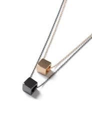 Topman Silver Mixed Metal Double Chain Cube Pendant Necklace