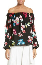 Tanya Taylor Women's Tessa Embroidered Silk Chiffon Off The Shoulder Top